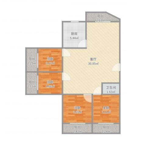 中海瀛台4室1厅1卫1厨92.00㎡户型图