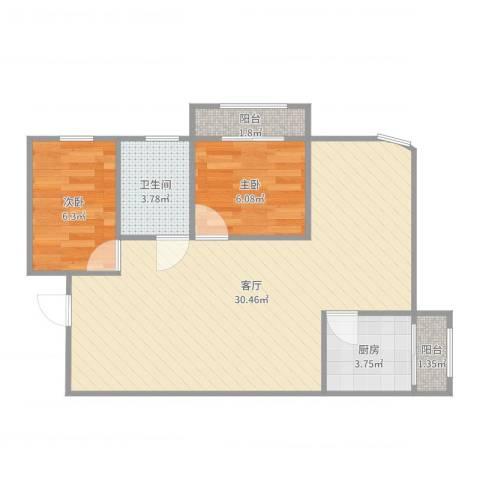 中海瀛台2室1厅1卫1厨67.00㎡户型图