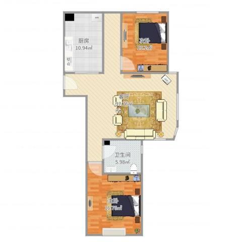 周庄嘉园三期2室1厅1卫1厨106.00㎡户型图