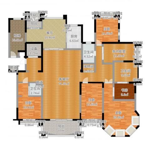 荣禾曲池东岸5室3厅3卫1厨292.00㎡户型图