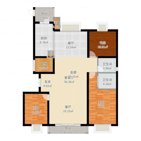 汇天嘉宇3室2厅2卫1厨156.00㎡户型图