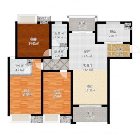 海陵首府3室2厅2卫1厨156.00㎡户型图
