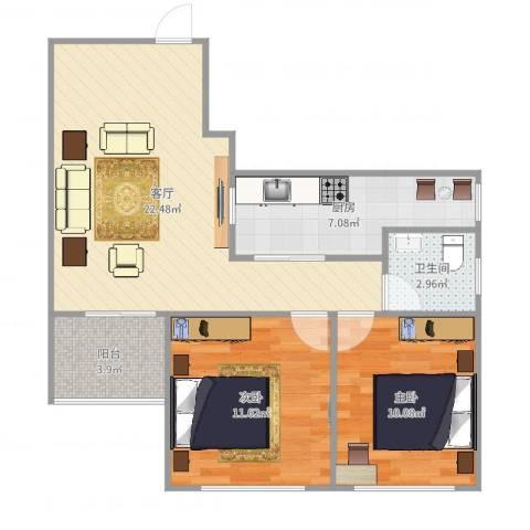 金地上塘道花园2室1厅1卫1厨73.00㎡户型图