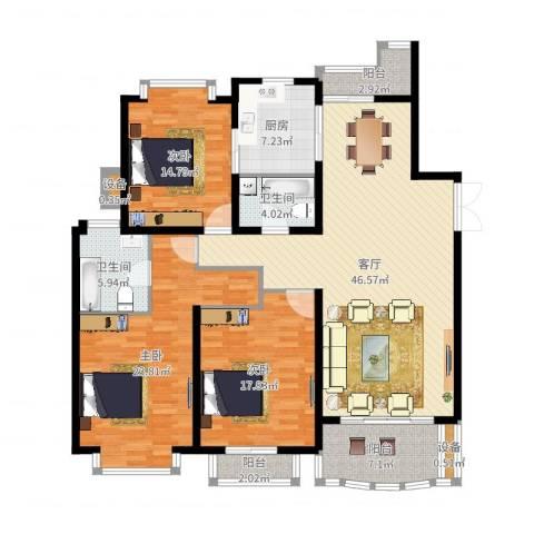 东苑世纪名门花园3室1厅2卫1厨133.07㎡户型图