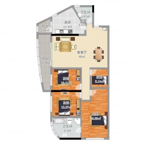 中顺领御公馆4室2厅2卫1厨156.00㎡户型图