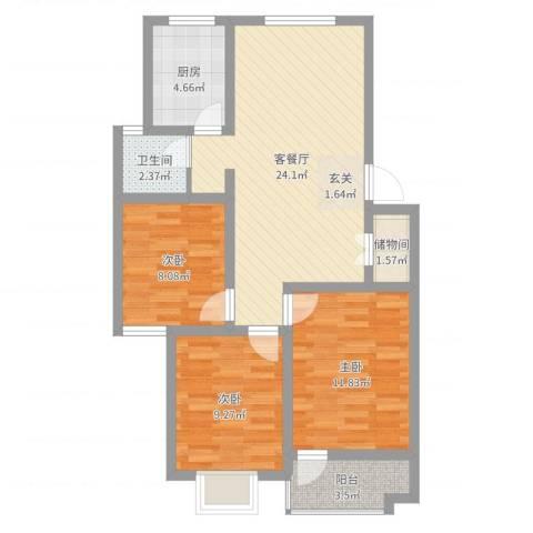 凯旋广场3室2厅1卫1厨82.00㎡户型图