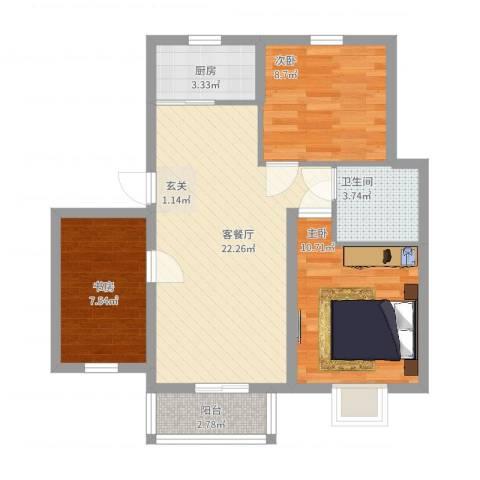 汇景豪庭3室2厅1卫1厨85.00㎡户型图
