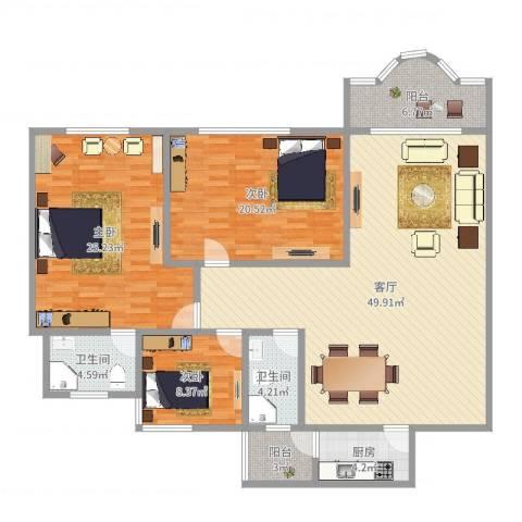 祈福新村康怡居3室1厅2卫1厨159.00㎡户型图