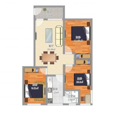 车辆厂小区3室1厅1卫1厨75.00㎡户型图