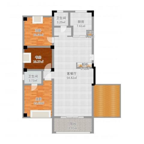亚华新城邦・雅轩3室2厅2卫1厨166.00㎡户型图