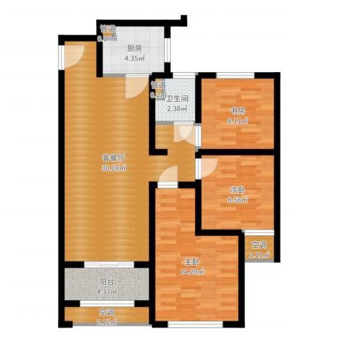 高科麓湾国际社区3室2厅1卫1厨95.00㎡户型图