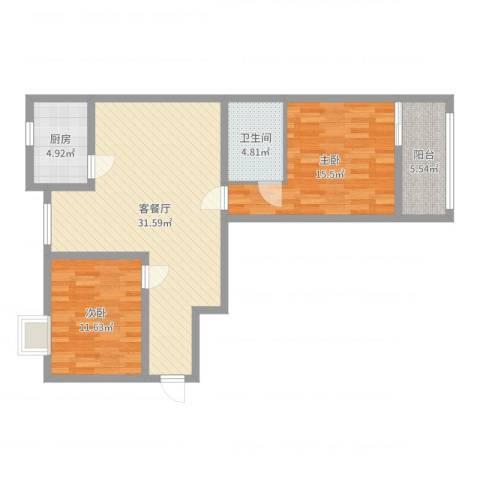华县东胜阳光小区2室2厅1卫1厨92.00㎡户型图