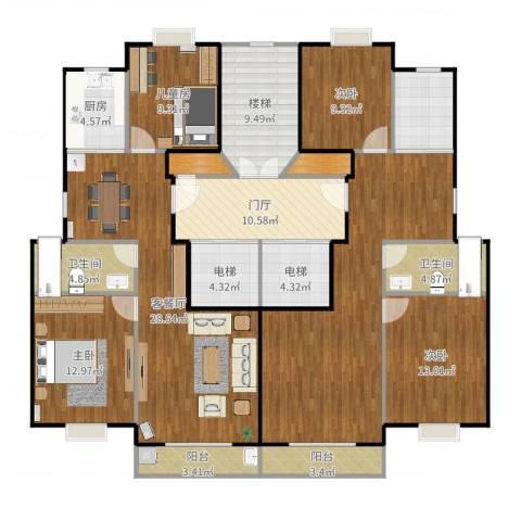 万科金色水岸4室2厅2卫1厨198.00㎡户型图