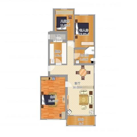 龙跃苑一区3室1厅1卫1厨135.00㎡户型图