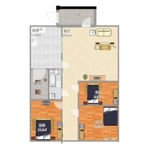 三江国际丽城C区澜岸3室1厅1卫1厨138.00㎡户型图