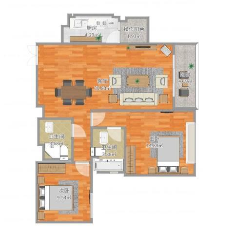 兆丰帝景苑2室1厅2卫1厨92.00㎡户型图