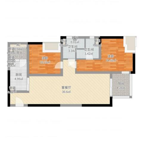 远雄徐汇园2室2厅2卫1厨93.00㎡户型图