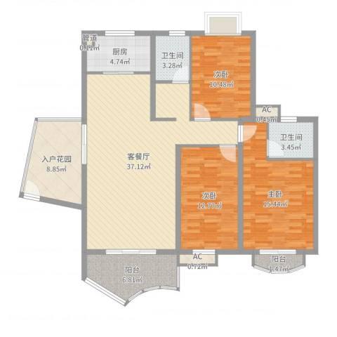 未来海岸蓝月湾3室2厅2卫1厨132.00㎡户型图
