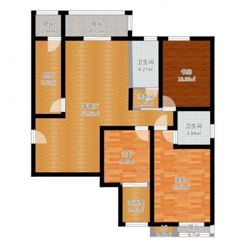 星湖国际花园3室2厅2卫1厨119.00㎡户型图