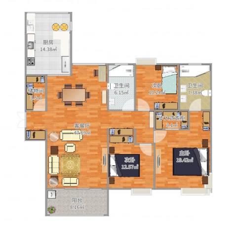 恒基九珑天誉3室2厅2卫1厨166.00㎡户型图