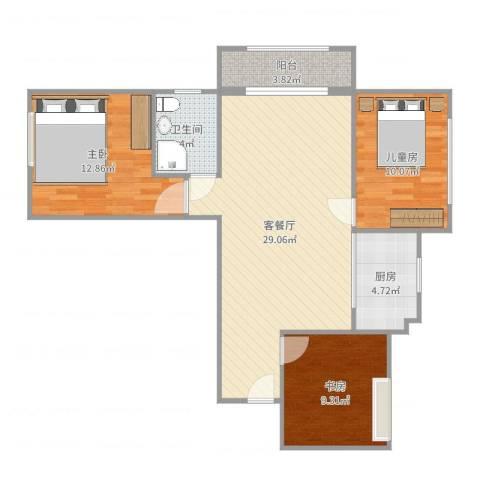 东方名城3室2厅1卫1厨92.00㎡户型图
