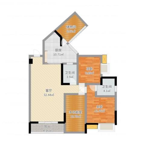 大众尚岭花园2室1厅2卫1厨117.00㎡户型图