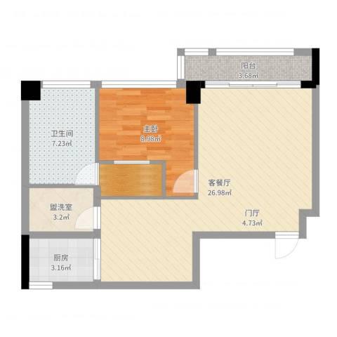 中骏天峰1室2厅1卫1厨69.00㎡户型图