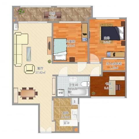 样板(龙湾府95㎡)3室1厅1卫1厨89.00㎡户型图