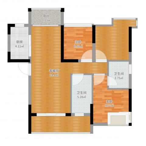 宇丰名苑2室2厅4卫1厨91.00㎡户型图