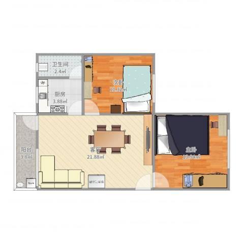 陵园西小区2室1厅1卫1厨70.00㎡户型图