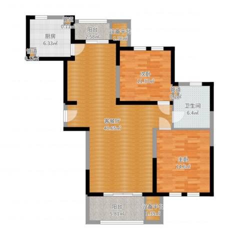 御龙锦园2室2厅1卫1厨114.00㎡户型图