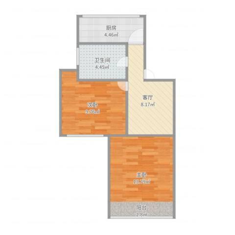 东五小区2室1厅1卫1厨51.00㎡户型图