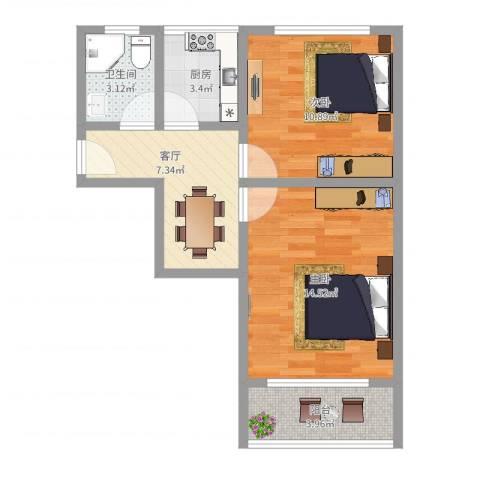 闻喜路930弄小区2室1厅1卫1厨54.00㎡户型图