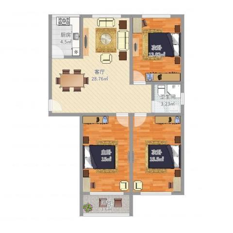 潼港四村3室1厅1卫1厨105.00㎡户型图