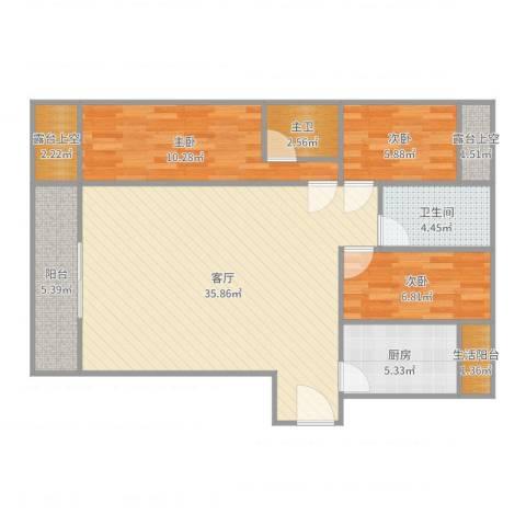 金地上塘道花园3室1厅1卫1厨102.00㎡户型图