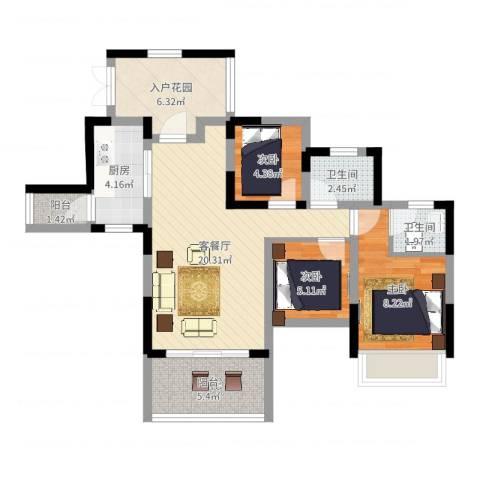 幸福枫景花园3室2厅2卫1厨75.00㎡户型图