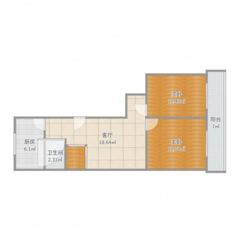 赵苑西里2室1厅1卫1厨81.00㎡户型图