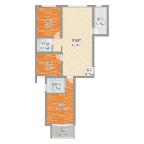 南华康城二期3室2厅2卫1厨102.00㎡户型图