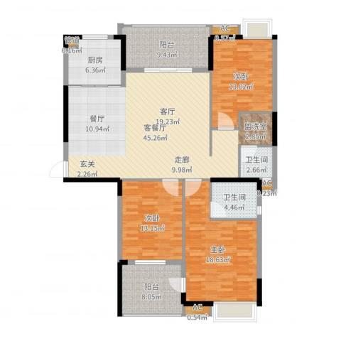 秦淮绿洲别墅3室2厅2卫1厨153.00㎡户型图