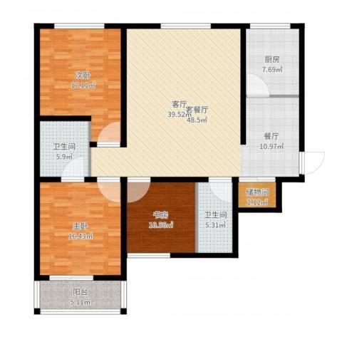 帝豪天成3室2厅2卫1厨148.00㎡户型图