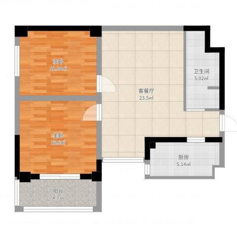 金海湾2室2厅1卫1厨76.00㎡户型图