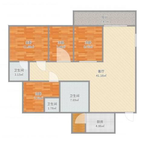 凯茵新城4室1厅3卫1厨140.00㎡户型图