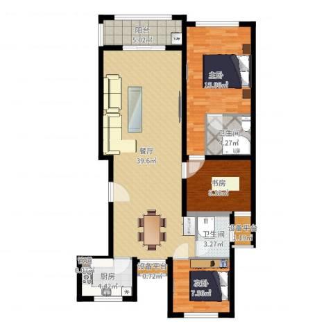 香江名邸3室1厅2卫1厨113.00㎡户型图