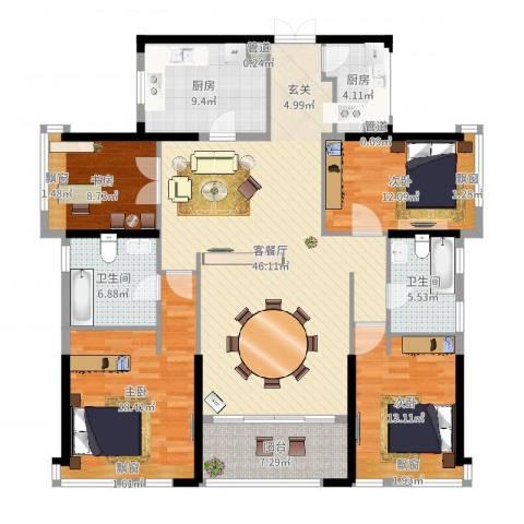 万科珠宾花园4室2厅4卫2厨165.00㎡户型图