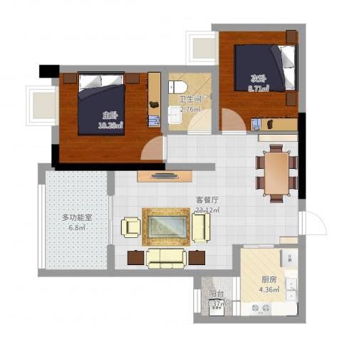 富洲新城D街区2室2厅1卫1厨72.00㎡户型图