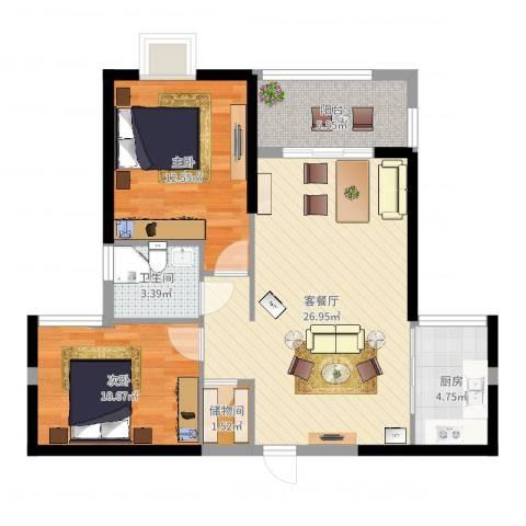 富雅国际2室2厅1卫1厨82.00㎡户型图