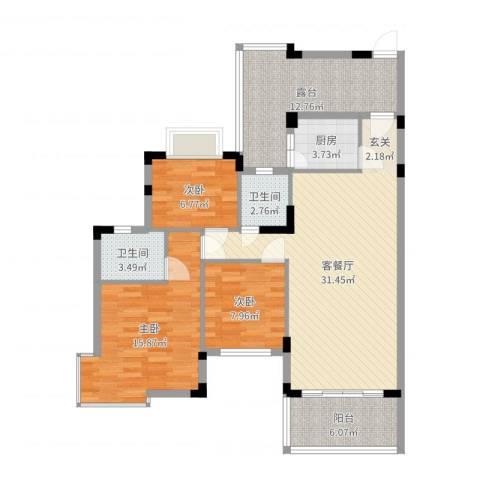 江南御都3室2厅2卫1厨90.86㎡户型图