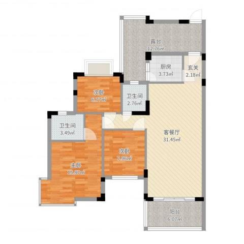 江南御都3室2厅2卫1厨114.00㎡户型图