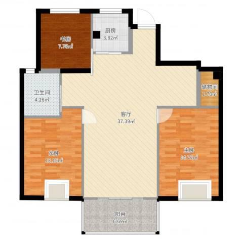格兰春晨二期加州里3室1厅1卫1厨112.00㎡户型图