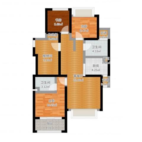 阳光城翡丽湾3室2厅4卫4厨91.00㎡户型图